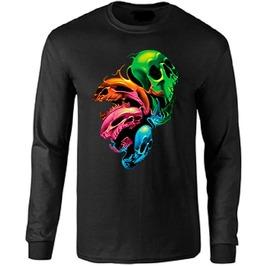 Neon Distorted Skulls Long Sleeve T Shirt