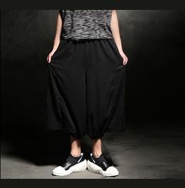New Mens Linen Elastic Waistband Harem Low Crotch Pants