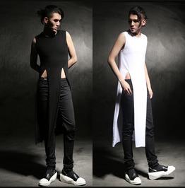 New Arrival Mens Extra Long Split Sleeveless T Shirts Black/White