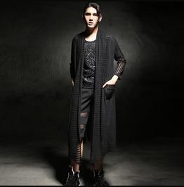 Spring Fashion Men's Loose Casual Cardigan Black Thin Coats
