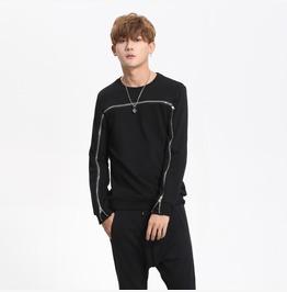 New Mens Black/Gray Solid Color Casual Sweatshirts