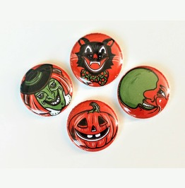 Retro Halloween Magnet Set, 4 Vintage Inspired Magnets