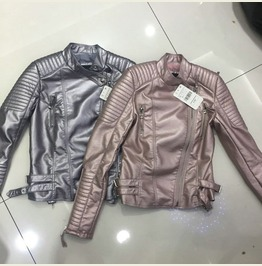 Women's Metalic Faux Leather Jacket Gold Pink Silver Black Outerwear