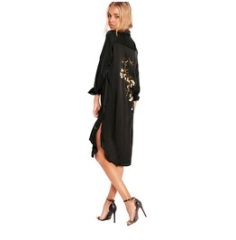 Casual Embroidery Button Down Shirt Dress Black
