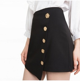 Women's High Waist Button Black Skirt