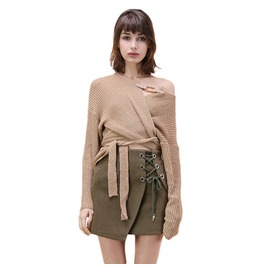 Irregular Tie Up Buckle Khaki Sweater Womens