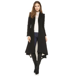 Womens Asymmetric Length Wool Blend Long Coat Outerwear Black