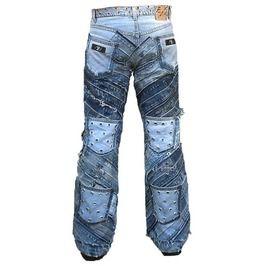 Hardcore unique handmade rocker denim rivets jeans pant jeans