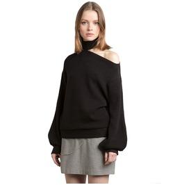 Hollow Out Asymmetric Black Sweater Autumn Winter Womens