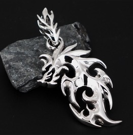 925 Sterling Silver Viking Norse Fenrir Wolf Pendant Pd 01