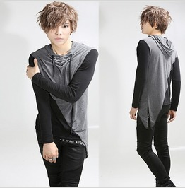 Mens Fashion Long Sleeve Hooded T Shirts Contrast Color Tee Shirts