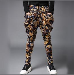 Mens Skinny Harem Pants Print Casual Pants
