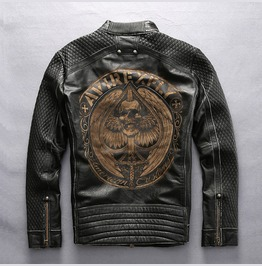 Mens Genuine Cow Leather Motorcycle Jacket Skull Print Outerwear