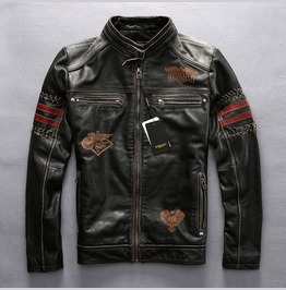 Premium Mens Genuine Cow Leather Motorcycle Biker Jacker Red Stripe