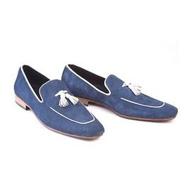 Handmade Men Navy Blue Suede Leather Tassels Moccasins Shoes Loafer Silpons
