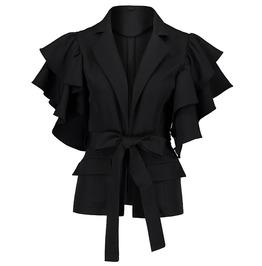 Gothic Coat Women Autumn Petal Sleeve Straight Lace Up Pockets Cardigan