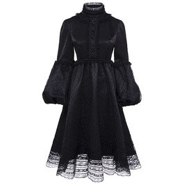 Black Mesh Lace A Line Lolita Lantern Sleeve Gothic Vintage Dress
