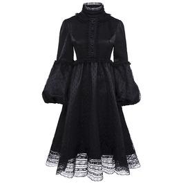 Black Mesh Lace A Line Lolita Lantern Sleeve Gothic Vintage Dress