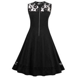 Sleeveless O Neck Lace Black A Line Gothic Dress