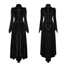 Punk Womens Long Dress Gothic Jacket Black Velvet Steampunk Victorian Vtg