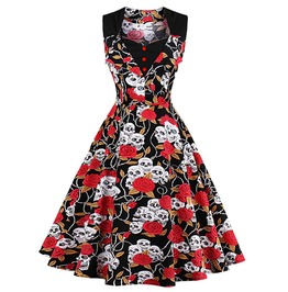Skulls Roses Patchwork Sleeveless 50s 60s Retro Vintage Party Dress