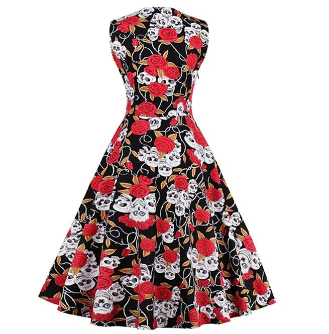 50c1d55d41b Skulls Roses Patchwork Sleeveless 50s 60s Retro Vintage Party Dress