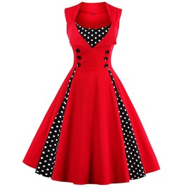 Polka Dot Patchwork Sleeveless 50s 60s Retro Vintage Party Dress