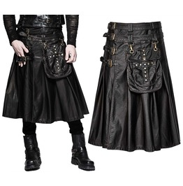 Mens Goth Dieselpunk Utility Kilt Black Punk Dystopain Faux Leather Kilt