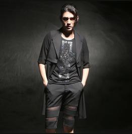 Men Fashion Blend Half Sleeve Casual Cardigan Long Trench Coats