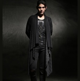 Punk Rock Mens Casual Long Coats Black Thin Cardigan Tops