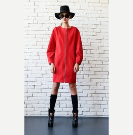 Red Zipper Coat/Plus Size Red Dress/Loose Short Jacket/Oversize Tunic Top