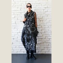 Asymmetric Black Clutch/Extravagant Handbag/Leather Bag With Chain