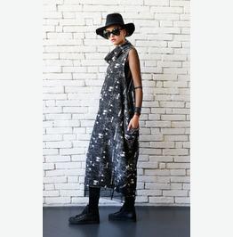 Extravagant Sleeveless Kaftan/Large Polo Necklace Dress/Plus Size Maxi Dres
