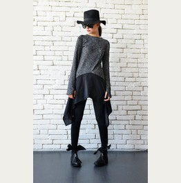 Asymmetric Loose Tunic/Grey And Black Top/Extravagant Suspenders Tunic