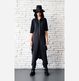 Black Maxi Jumpsuit/Plus Size Onepiece/Drop Crotch Pants/Hooded Loose Tunic