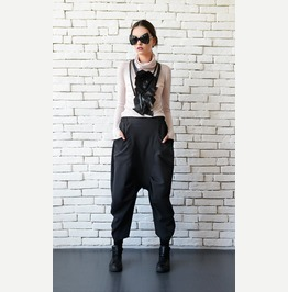 Drop Crotch Black Pants/Loose Wide Pants/Black Maxi Pants/Oversize Pants