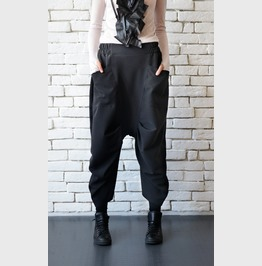 Drop Crotch Black Pants/Loose Wide Pants/Black Maxi Pants/Oversize Pants