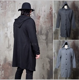 Button Up Hooded Knit Coat 137
