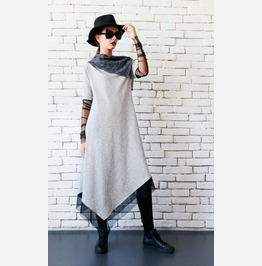 Asymmetric Grey Dress/Extravagant Long Loose Tunic/Long Sleeve Mesh Dress
