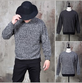 Banded Hem Heather Knit Sweater 804