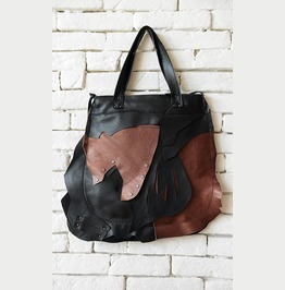 Extravagant Large Tote/Multi Color Shoulder Bag/Cutout Leather Purse