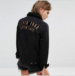Live Free Live Easy Denim Black Women's Jacket Outerwear