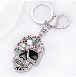 Silver/Gold Skull Gothic Enamel Keychain Women Handbag Crystal Pendant
