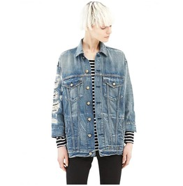 Distressed Womens Denim Jacket Outerwear