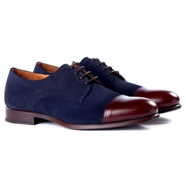 Handmade Cap Toe Formal Shoes, Men Maroon And Navy Blue Color Dress Shoes
