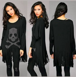 Oversized Skull Long Sleeve Top Dress Shirt Women's