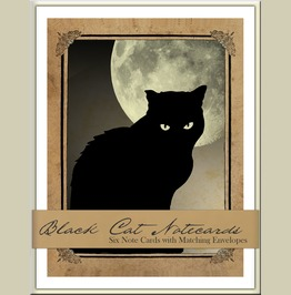 Black Cats Boxed Notecard Set Six Blank Cards With Matching Envelopes