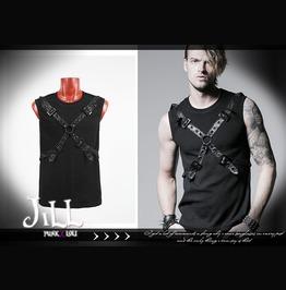 Punk Heavy Metal Rock Factor Leatherette Sleeveless Tshirt Jpt351 Bk