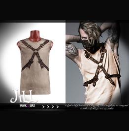 Punk Heavy Metal Rock Factor Leatherette Sleeveless Tshirt Jpt351 Br