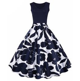 Floral Print High Waist Retro Vintage Swing Party Dress
